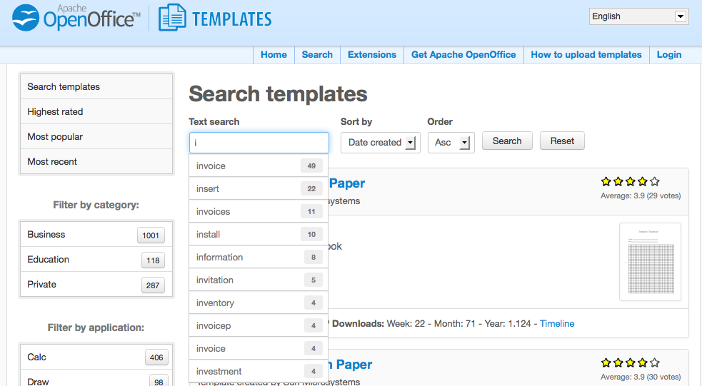 apache openoffice templates search